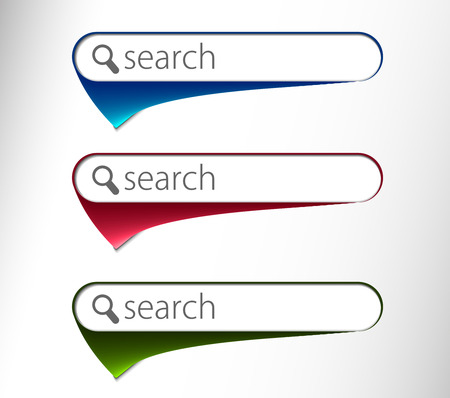 search button: 3d glossy search icon, three multi color isolated on white background