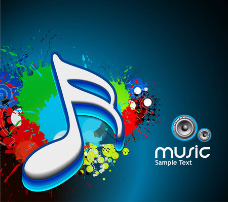 3d music note on a grunge music background, vector illustration Vector