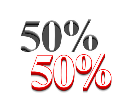 3d vector 50% discount  design with isolated on white. Stock Vector - 8958335