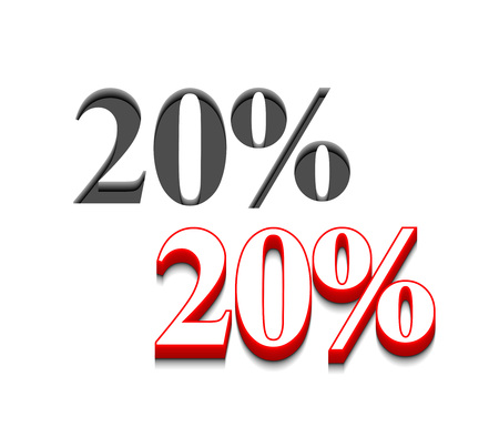 3d vector 20% discount  design with isolated on white. Vector