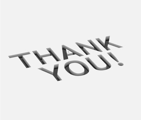 3d vector thank you text  design with isolated on white.