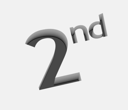 3d vector 2nd number design with isolated on white.  Vector