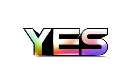 3d colorful yes text , isolated on white background. Stock Vector - 8958327