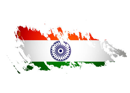 India flag with grunge design, vector illustration  Vector