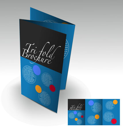 Tri-fold brochure design elemenr, vector illustartion. Vector