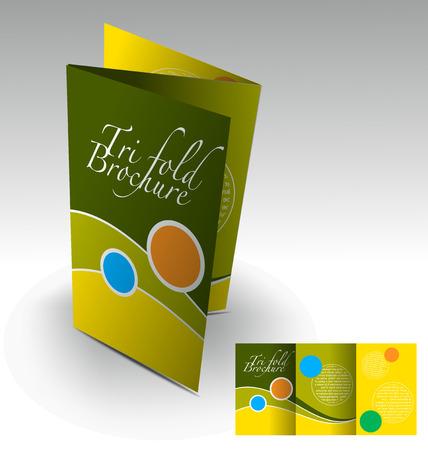 booklet: Tri-fold brochure design elemenr, vector illustartion. Illustration
