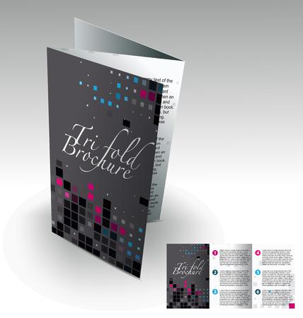 new company: Tri-fold brochure design elemenr, vector illustartion. Illustration