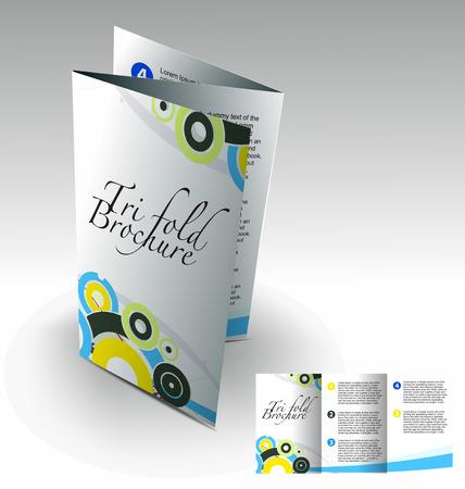 corporate event: Tri-fold brochure design elemenr, vector illustartion. Illustration