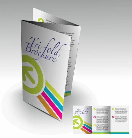 themes: Tri-fold brochure design elemenr, vector illustartion. Illustration