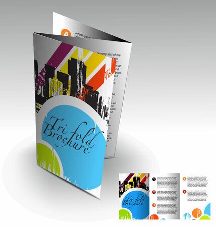 office party: Tri-pliegue folleto dise�o elemenr, vector illustartion.