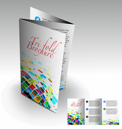 magazine design: Tri-fold brochure design elemenr, vector illustartion. Illustration