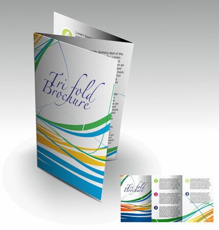 Tri-fold brochure design elemenr, vector illustartion. Ilustração Vetorial
