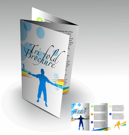 illustartion: Tri-fold brochure design elemenr, vector illustartion. Illustration