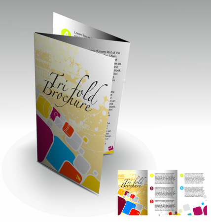 Tri-fold brochure design elemenr, vector illustartion. Illustration