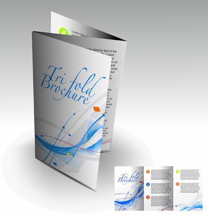 folleto: Tri-pliegue folleto dise�o elemenr, vector illustartion.