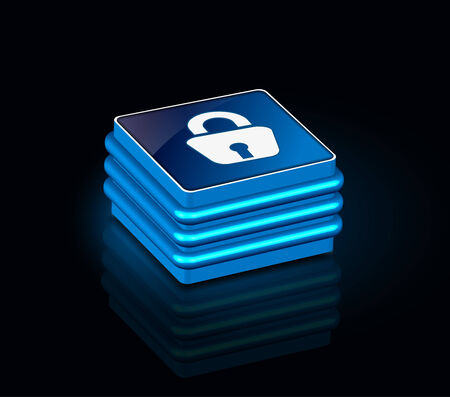 forbidden to pass: 3d glossy lock icon, blue isolated on black background. Illustration