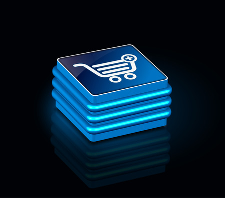3d glossy shopping icon, blue isolated on black background. Stock Vector - 9066267
