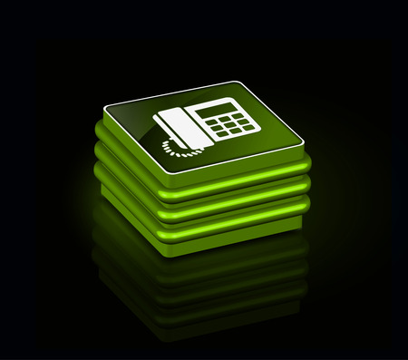 3d glossy phone icon, green isolated on black background. Stock Vector - 9066213