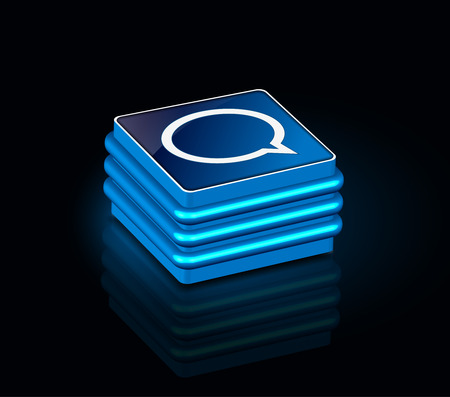 3d glossy chat icon, blue isolated on black background. Vector