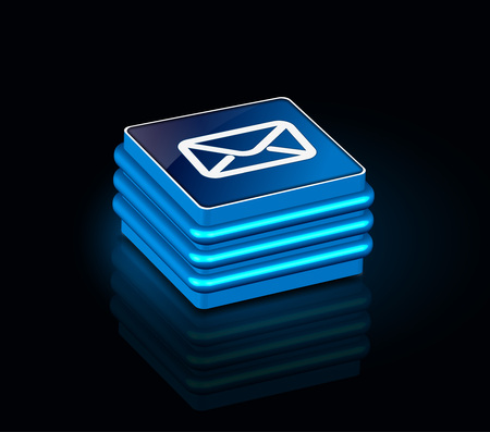 msn: 3d glossy email icon, blue isolated on black background.