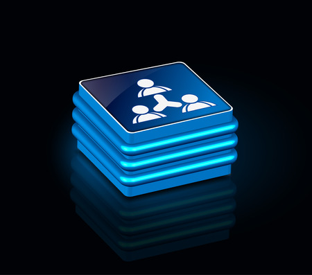 socialize: 3d glossy socialnetwork icon, blue isolated on black background. Illustration