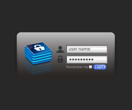 Vector login password, security window screen, web form templates. Stock Vector - 9066330