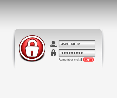 Vector login password, security window screen, web form templates.  Vector