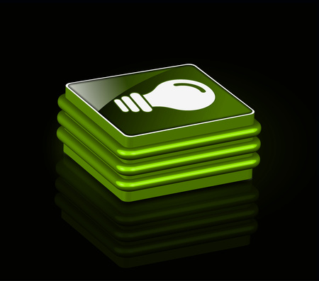 3d glossy bulb icon, green isolated on black background. Vector