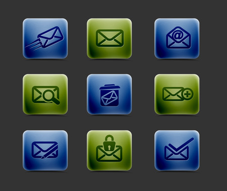 vector email icon set, includes four color versions for your web colour design used. Vector