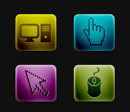 barebone: Electronic computer icon set. Internet Button vector illustration. Illustration