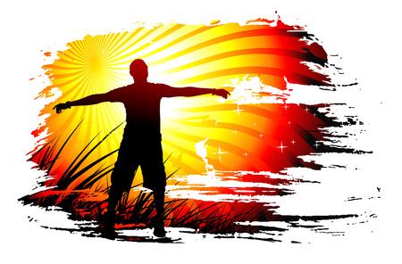 Young man raising his hands, Vector illustration. Vektorové ilustrace