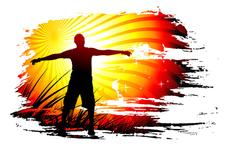 outstretched: Young man raising his hands, Vector illustration.