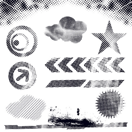 abstract modern vector illustration,grunge dots elements with retro shapes,ink splat. Vector