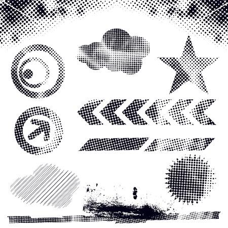 ink splat: ilustraci�n vectorial moderno abstracto, elementos de puntos de grunge con formas retro, splat de tinta. Vectores