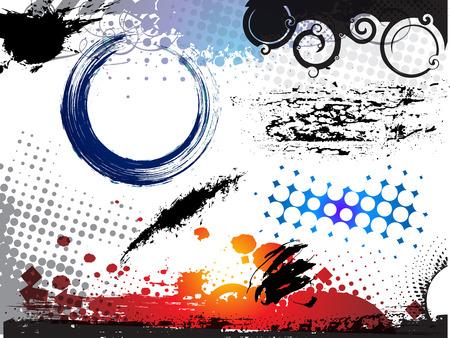 ink splat: Resumen ilustraci�n vectorial moderna, elementos de grunge con formas retro, splat de tinta.