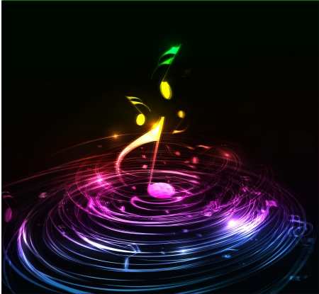 retro music: Music colorful music note theme - rainbow swirl  wave line background.  Illustration