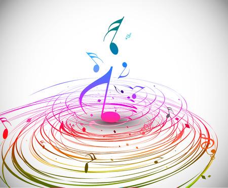 are sound: Tema de nota colorida m�sica de m�sica - fondo de l�nea de arco iris remolino ola.  Vectores