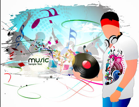 Abstract vector illustration of an Dj man standing in party background. Vector