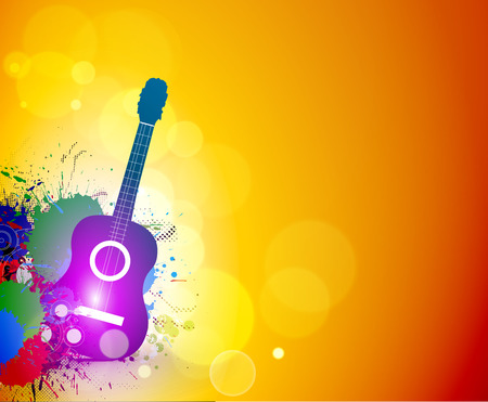 swirl composition: Music notes with guitar player for design use, vector illustration