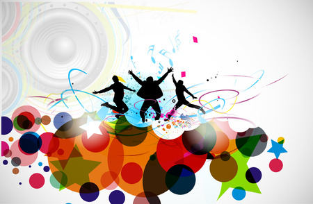 active girl: A group of very happy people isolated on white music background.