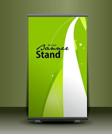 advertisement: ein Rolup Display mit Banner Vorlage Standkonzept, Vektor-Illustration. Illustration
