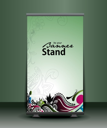 a rolup display with stand banner template design, vector illustration. Vector