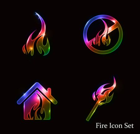 sizzling: fire icon set - vector illustration
