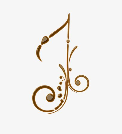 Chocolate music note for valentine vector design element. Vector