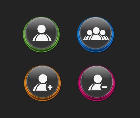 icono de usuario vector conjunto, incluye cuatro versiones de color para el dise�o de color web utilizado. Foto de archivo - 9279864