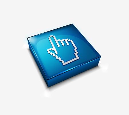 clic: 3d vector glossy hand cursor web icon design element. Illustration