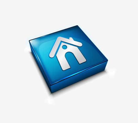 3d vector glossy home web icon design element. Vector