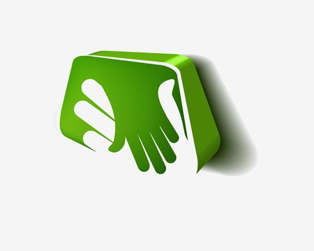 male hand: vector 3d icon of shaking hands design.