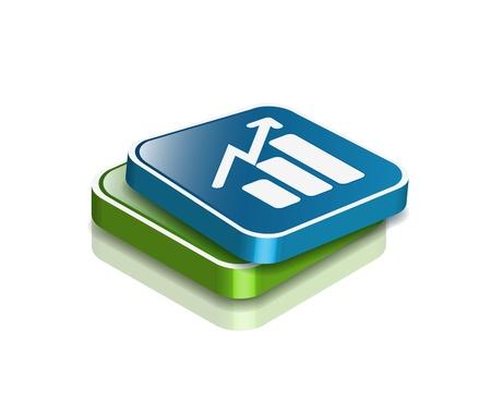 profits: 3d vector glossy business graph web icon design element.