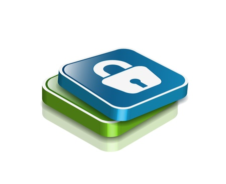 padlock icon: 3d glossy lock icon, blue isolated on black background. Illustration